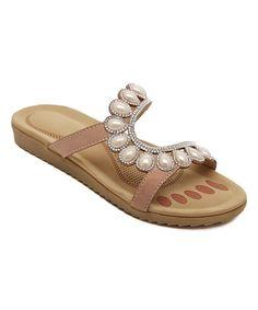 Beige Embellished Curve Leather Sandal