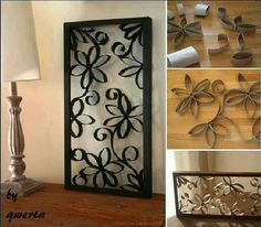 Diy wall art from toilet paper rolls. Who knew you could make art like this with so little expense.