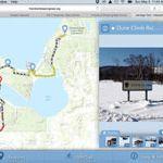 Biker using the Sleeping Bear Heritage Trail interactive map.
