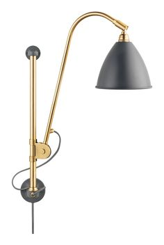 BL5 Wall Lamp Wired - Grey/Brass | Gubi | Vålamagasinet