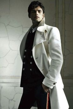 Men's white military style coat. Fresh fashion inspiration daily, follow http://pinterest.com/pmartinza