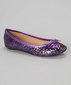 This Purple & Rainbow Glitter Flat by Ositos Shoes is perfect! #zulilyfinds