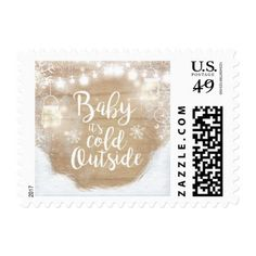 Cold outside Postage Stamps Snowflakes Winter Baby - baby birthday sweet gift idea special customize personalize