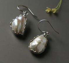 Silver Baroque Pearl Earrings Bridal Earrings by HiBackyardRose