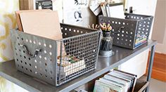 Vintage locker baskets for office organization. Rebecca Puig