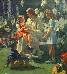 Jesus with children in Heaven. This picture was at my church when I was growing up. Love it. AP
