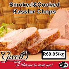 Special at Greeff's - SmokedCooked Kassler Chops at only Visit Greeff's Butchery Cafe for more specials. Steak, Memories, Cooking, Cucina, Kochen, Cuisine, Brewing, Steaks, Koken