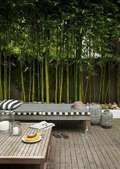 parete schermante terrazzo con canne di bamboo