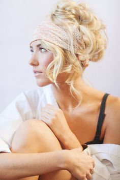 """Headband / head wrap. This would be gorgeous with one of the rhinestone / sparkly 1920's headwear a or """"crowns"""" a la The Great Gatsby. Updo hairstyle for long hair"""