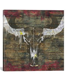 Crazy Train Longhorn Steer Skull Pillow Home Decor Decorations Turquoise Blue