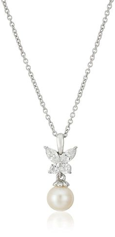 Platinum-Plated Sterling Silver Swarovski Zirconia Freshwater Cultured Pearl Butterfly Pendant Necklace (3/4 cttw) * You can find more details by visiting the image link. (This is an Amazon Affiliate link and I receive a commission for the sales)