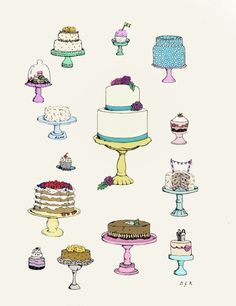ink illustration cake - Google Search