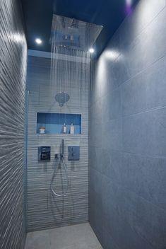 Like the shower inside ceiling look Upstairs Bathrooms, Dream Bathrooms, Glass Bathroom Shelves, Rainfall Shower, Rain Shower, Luxury Interior Design, Dream Decor, House Design, River Breeze