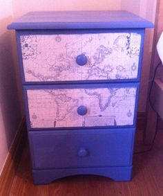 Up-cycled bedside cabinet. Annie Sloan Greek blue, clear wax & decoupage map.
