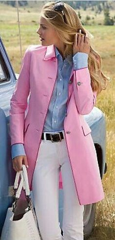 pink trench coat with sky blue shirt and white jeans. so classic look