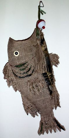 Burlap Christmas Stocking Fish Camo.   This is so Cameron!