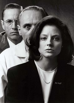 Publicity shot of Jodie Foster, Scott Glenn and Anthony Hopkins for Silence of the Lambs