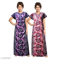 Nightdress Women's Cotton Nightdress Fabric: Cotton Sleeve Length: Short Sleeves Pattern: Printed Multipack: 2 Sizes: Free Size (Length Size: 54 in)  Country of Origin: India Sizes Available: Free Size, XL, XXL, XXXL   Catalog Rating: ★4 (578)  Catalog Name: Women's Cotton Jaipuri Nightdresses CatalogID_1959975 C76-SC1044 Code: 425-10676742-1731