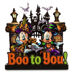 BOO TO YOU! Walt Disney's Mickey and Minnie Mouse Haunted Mansion Sign from the Disney Store. Perfect decorative accessory for Halloween. Disney Halloween, Mickey Mouse Halloween, Halloween Signs, Holidays Halloween, Scary Halloween, Halloween Decorations, Disney Holidays, Halloween City, Halloween Village