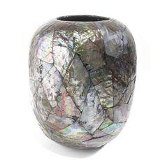 Vaso De Ceramica Decorado Com Madreperola