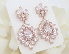 Pendientes de oro rosa joyería nupcial pendientes por treasures570