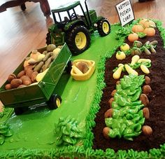 More tractor/farm cake....nuts for different crops! Love it!
