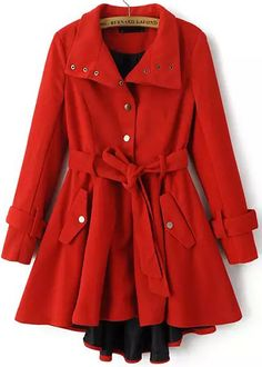 Red Long Sleeve High Low Belt Outerwear 46.67