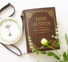 Jane Austen Faux Leather Book Bag Pride and Prejudice Book Purse by krukrustudio on Etsy
