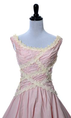 Dressing Vintage - Ceil Chapman vintage dress in pink 1950s with lace trim, $575.00 (http://dressingvintage.com/ceil-chapman-vintage-dress-in-pink-1950s-with-lace-trim/)