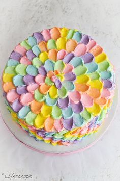 Life Scoops: Rainbow Polka Dot Cake / Vanilla cake with Lemon Swiss Meringue Buttercream