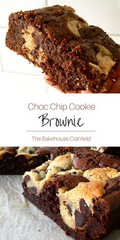 Chocolate chip cookie brownie - such a great gift idea! - a tasty and delicious treat :) Kinds Of Desserts, Easy Desserts, Delicious Desserts, Yummy Food, Brownie Recipes, Cupcake Recipes, Baking Recipes, Dessert Recipes, Chocolate Chip Cookie Brownies