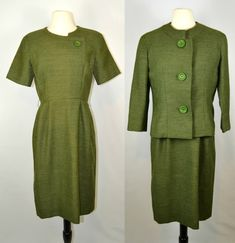 1950s/1960s Green Tweed Dress and Jacket by by KrisVintageClothing