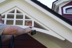 Install Fypon Bracket - Secure Using Corrosion Resistant Fasteners Shed Plans, House Plans, Gable Trim, Gable Roof, Gable Brackets, Hot Tub Pergola, Craftsman Trim, Craftsman Style, Pergola Kits
