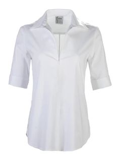 This silky poplin over the head style with has a sporty zip detail, a semi-fitted shape, and long sleeves with a simple barrel cuff. Short Sleeves, Long Sleeve, Classic White, Poplin, Kurti, Sporty, Zip, Cotton, Shopping