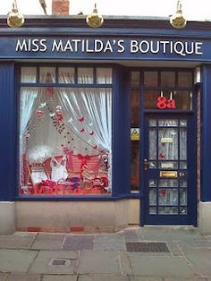 Miss matilda's shop facade, front windows, cafe shop, store displays, shop window