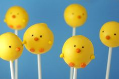 How cute..   Spring chicken easter cake pops