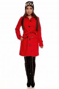 21226ed742a43 RED LONG SLEEVES BELTED BUTTON DOWN PEACOAT