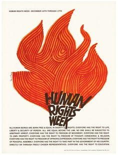 'Human Rights Week' - Saul Bass, Bass was commissioned by the U. National Commission for UNESCO to create artwork promoting Human Rights Week, an annual celebration and awareness raiser of the Universal Declaration of Human Rights. Film Poster Design, Poster S, Graphic Design Posters, Graphic Designers, Graphic Art, Design Typography, Typography Poster, Lettering, Saul Bass Posters