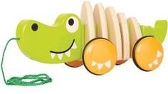 Walk Along Crocodile by Hape. Walking is more fun when you have a friend to pull along, with this classic Hape pull along crocodile. Made from FSC-certified Toddler Toys, Kids Toys, Crocodile, Hape Toys, Pull Along Toys, Wooden Animals, Preschool Games, Pull Toy, Baby Games