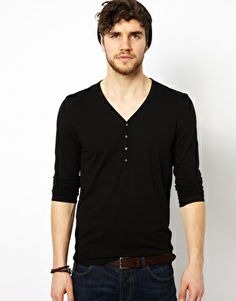 ASOS Long Sleeve T-Shirt With Y Neck