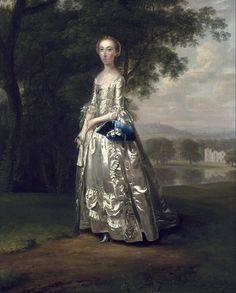1750 Arthur Devis, Portrait of a Lady in Landscape Such texture. via the Historical Shoemaker