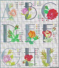 схема вышивки алфавит с розами a-i