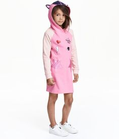 Pink/stars. A-line dress in sweatshirt fabric with a lined hood with ear…