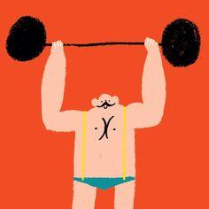 Rob Hodgson, Strongman #print #illustration  via @howkapow