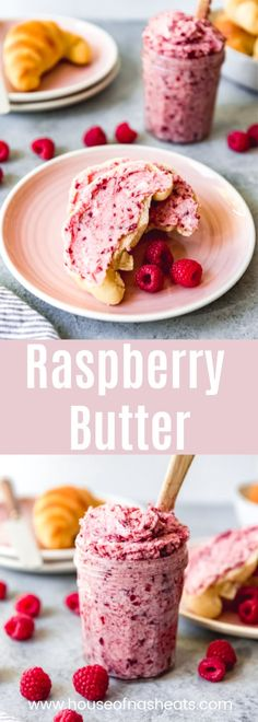 Raspberry Butter - Raspberries - Ideas of Raspberries - Raspberry Butter is a sweet creamy spread that is wonderful on rolls scones biscuits waffles pancakes toast and so much more. This fun flavored butter is easy to make and so delicious! Raspberry Recipes, Fruit Recipes, Sweet Recipes, Dessert Recipes, Desserts, Flavored Butter, Homemade Butter, Homemade Sauce, Fruit Butter Recipe