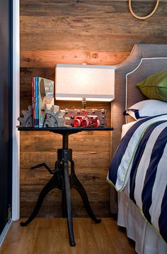 Jute interior Design - Rustic boy's room with industrial table nightstand, gray linen ...