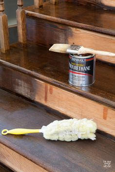 Home Remodeling Wood Wood Staircase makeover showing the process for staining staircase steps like a pro. Learn a few tips and tricks for project success. Stained Staircase, Wood Staircase, Wooden Stairs, Staircase Design, Staircases, Staircase Ideas, Makeover Shows, Staircase Makeover, Stair Redo