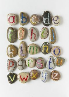 Alphabet Pebbles for Kids, via Etsy. me: Magnetic rock letters for engaging students in library with alphabet. Kids Crafts, Craft Projects, Craft Ideas, Summer Crafts, Craft Tutorials, Project Ideas, Rock Crafts, Arts And Crafts, Stone Crafts