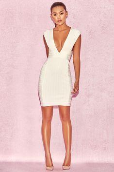5c890f5d28 HOUSE OF CB  Alvarez  White Plunge Front Bandage Mini Dress L 12   14