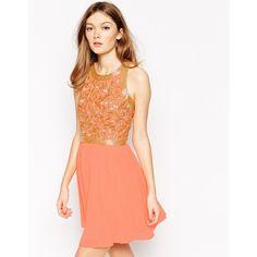 Virgo's Lounge Kelly Embellished Skater Dress (310 SEK) ❤ liked on Polyvore featuring dresses, pink, pink beaded dress, pink skater dress, pink cut out dress, pink fit and flare dress and pink cutout dress